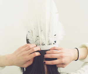 feather, white, and hair image
