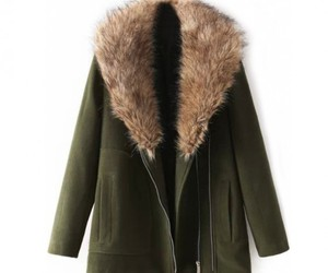 olive green, winter coat, and women fashion image