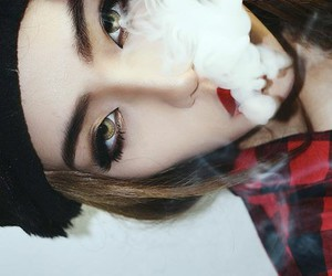 asian, girl, and smoke image