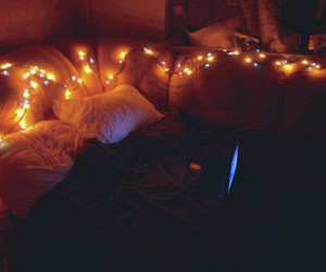 bed, goodnight, and light image