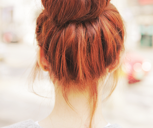 hair, bun, and red image