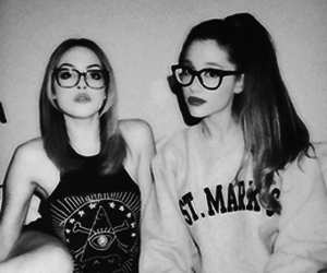 ariana grande, liz gillies, and black and white image