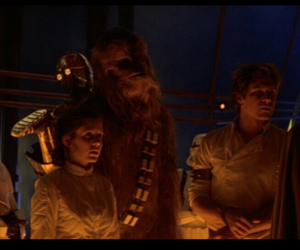 c3po, carrie fisher, and chewbacca image