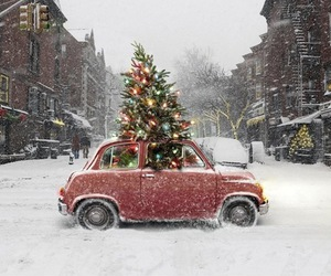 car, vintage, and christmas image