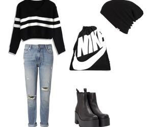 beanie, boyfriend jeans, and sweather image