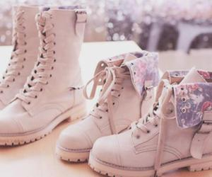 combat boots, floral, and winter image