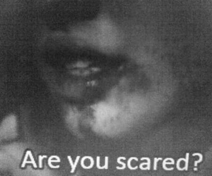 scared, black and white, and blood image