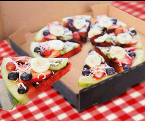 pizza, fruit, and watermelon image