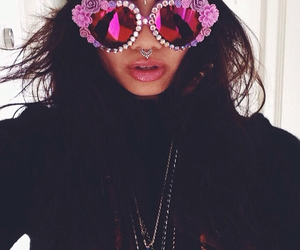 pink lips, sunnies, and pink sunglasses image