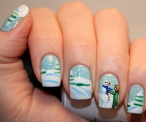 nails, snow, and christmas image