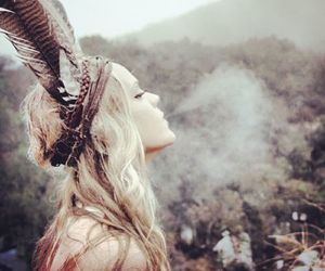 girl, smoke, and indian image
