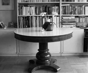 black and white, book, and books image