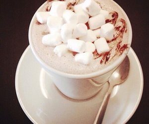 drink, marshmallow, and winter image