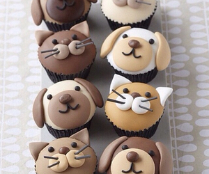 cupcake, cat, and dog image
