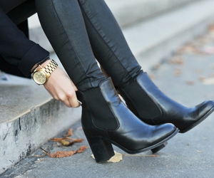 ankle boots, black boots, and booties image