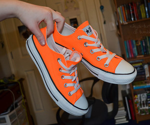 all star, orange, and converse image