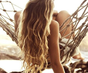 beach, curly hair, and blonde image