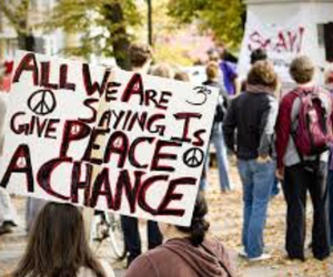 peace, hippie, and protest image