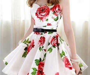 cut, dress, and rose image