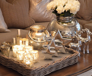 christmas, candles, and decoration image