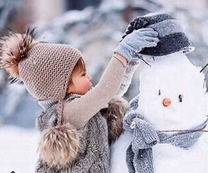 winter, snow, and snowman image