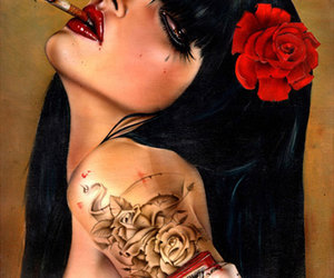 art, painting, and red rose image