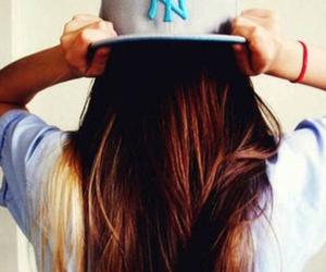 brunette, hair, and cap image