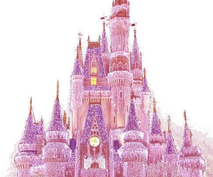 pink, castle, and disney image