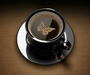 coffee, butterfly, and black image
