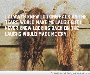 laughs, looking back, and friends image