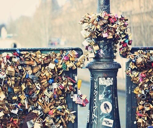 love, paris, and lock image