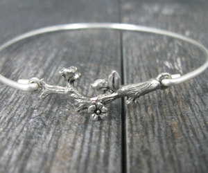 branch, silver bracelet, and silver jewelry image