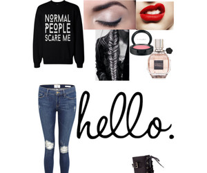 outfit, Polyvore, and red lips image