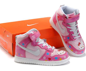 hello kitty, high tops, and pink image