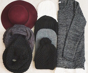hat, scarf, and winter image