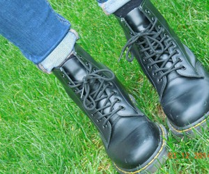 dr martens, grass, and style image
