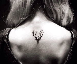 tattoo, deer, and black image