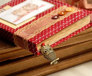 book, owl, and red image