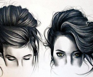 hair, girl, and drawing image