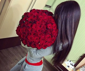 rose, flowers, and hair image