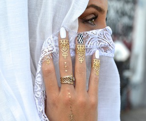 henna, gold, and tattoo image
