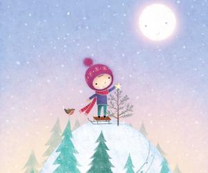 christmas tree, illustration, and moon image