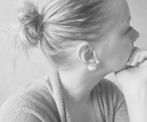 black and white, bun, and hair image