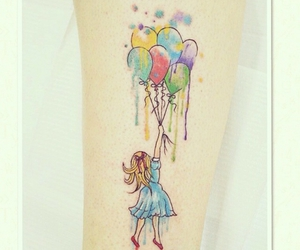 tattoo, girl, and colorful image