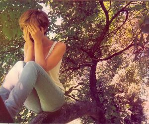 girl, trees, and photo image