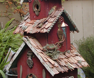 birdcages, birds, and cottage image
