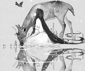 anime, monochrome, and nature image