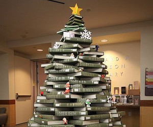 books, christmas, and christmas tree image