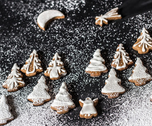 christmas cookies, season, and food image