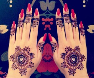 henna, nails, and red image